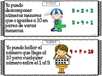 "Common Core ""I Can"" Math Posters in Spanish for Kindergarten"