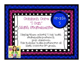 """Common Core """"I Can"""" Math Statement Posters - 5th Grade"""