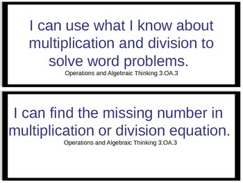 "Common Core ""I Can..."" Math Statements"
