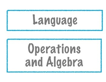 Common Core I Can Statement Headers