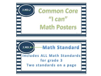 """Nautical Theme Common Core """"I Can"""" Statement Posters for Math"""