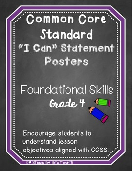 Common Core I Can Statement Posters Foundational Skills Grade 4
