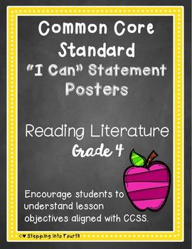 Common Core I Can Statement Posters Reading Literature Grade 4