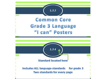 "Nautical Theme Common Core ""I Can"" Statement Posters for Language"