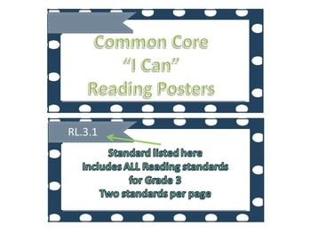 """Nautical Theme Common Core """"I Can"""" Statement Posters for Reading"""