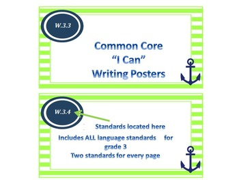 "Nautical Theme Common Core ""I Can"" Statement Posters for Writing"