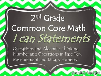 I Can Statement Posters Common Core Standards 2nd Grade Green Chevron FULL PAGE