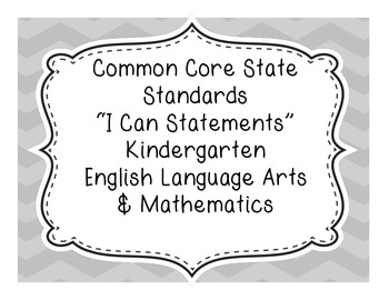 Kindergarten English Language Arts and Mathematics Common