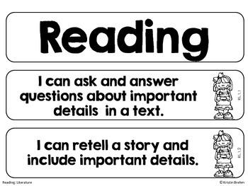 "Common Core ""I Can"" Statements: 1st Grade Language Arts"