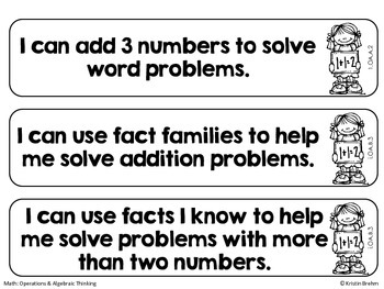 """Common Core """"I Can"""" Statements: 1st Grade Math"""