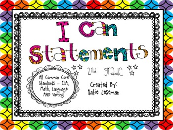 """Rainbow Theme Common Core """"I Can Statements"""" {2nd Garde}"""