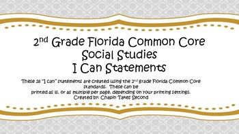 Common Core I Can Statements- 2nd grade Social Studies