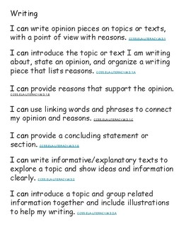 Common Core I Can Statements