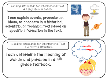 Common Core I Can Statements 4th Grade Reading