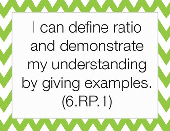 Common Core I Can Statements (6th Grade Math)
