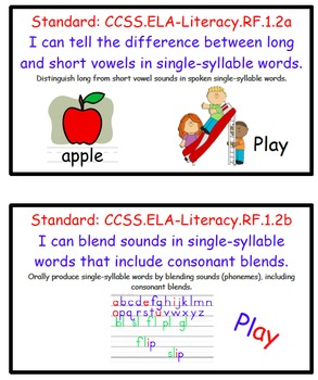 I Can Statements Bundle for 1st Grade Common Core (Reading, ELA, and Math).