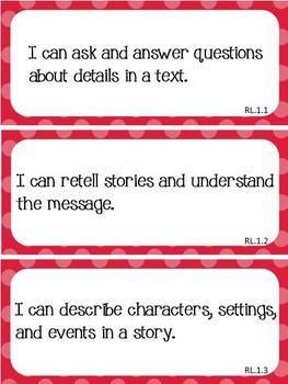Common Core I Can Statements ELA Grade 1