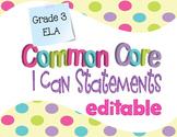Common Core I Can Statements ELA Grade 3 Confetti