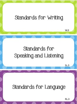 Common Core I Can Statements ELA Grade 3 Primary Colors