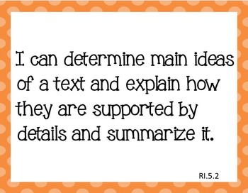 Common Core I Can Statements ELA Grade 5 LARGE