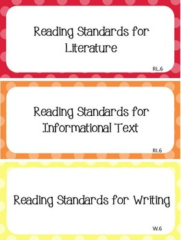Common Core I Can Statements ELA Grade 6 Primary Colors