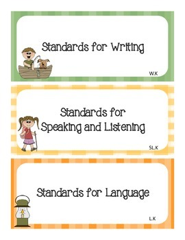 Common Core I Can Statements ELA Kindergarten Camping