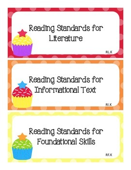 Common Core I Can Statements ELA Kindergarten Sweet Cupcakes