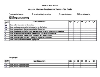 Common Core I Can Statements First Grade