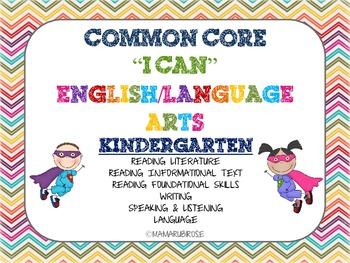 Common Core I Can Statements For Language Arts - Superhero Theme