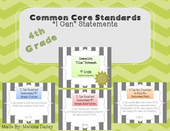"""Common Core Standards / """"I Can"""" Statements - Fourth Grade"""