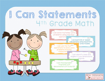 I Can Statements 4th Grade Math - Common Core Aligned
