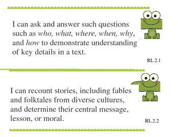 Common Core I Can Statements Grade Two Reading Pond Theme