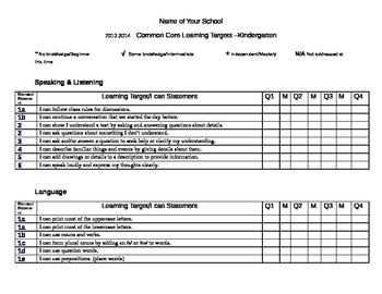 Common Core I Can Statements Kindergarten
