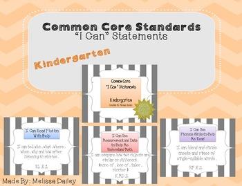 "Common Core Standards / ""I Can"" Statements - Kindergarten"