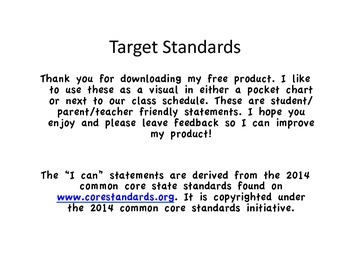 Common Core: I Can Statements; Learning Targets