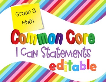 Common Core I Can Statements Math Grade 3 Primary Colors
