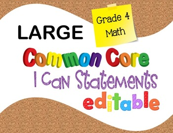 Common Core I Can Statements Math Grade 4 LARGE