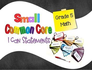 Common Core I Can Statements Math Grade 5 SMALL