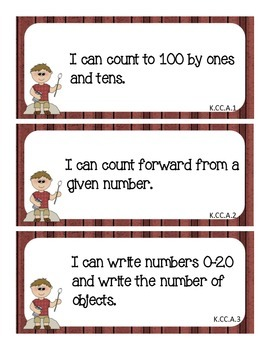Common Core I Can Statements Math Grade K Camping