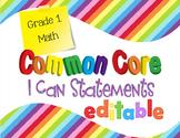 Common Core I Can Statements Mathematics Grade 1