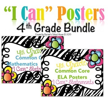 """Common Core """"I Can"""" Statements Poster BUNDLE Fourth Grade Math & ELA"""