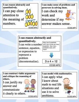 Common Core I Can Statements - Standards for Mathematical Practice