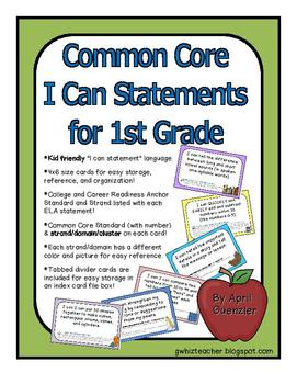 """Common Core """"I Can"""" Statements - The Organized Way!"""