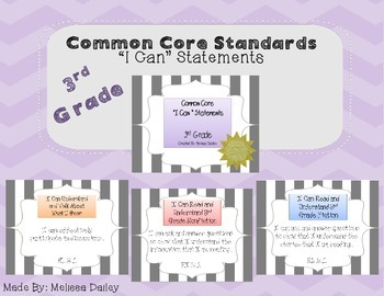 """Common Core Standards / """"I Can"""" Statements - Third Grade"""