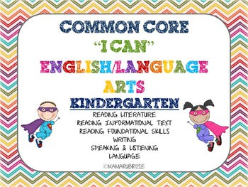 "Common Core ""I Can"" Statements and Checklist BUNDLE ELA and Math!!"