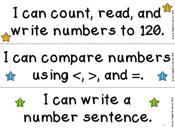Common Core I Can Statements for First Grade Math and ELA