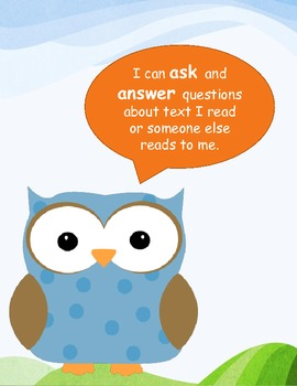 Common Core I Can Statements for Kindergarten: Reading Literature