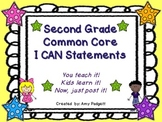 Common Core I Can Statements for Second Grade Math and ELA
