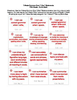"Common Core ""I Can"" Task Cards - Fifth Grade"