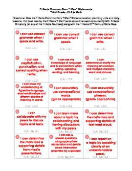 """Common Core """"I Can"""" Task Cards - Third Grade"""